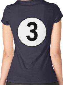 3, Three, Third, Number Three, Number 3, Racing, Competition, on Navy Blue Women's Fitted Scoop T-Shirt