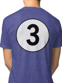 3, Three, Third, Number Three, Number 3, Racing, Competition, on Navy Blue Tri-blend T-Shirt