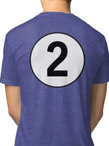 2, Two, Second, Number Two, Number 2, Racing, Competition, on Navy Blue Tri-blend T-Shirt