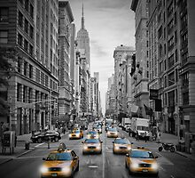 5th Avenue NYC Yellow Cabs by Melanie Viola