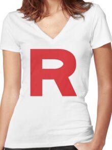 Team Rocket Logo Women's Fitted V-Neck T-Shirt