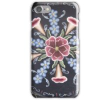 Forget Me Not Natural Trumpet Flower Rose Folk Art Rosemaling Woodsy Flower Power Kirsten iPhone Case/Skin