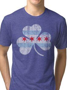 Vintage Irish Flag of Chicago Shamrock Tri-blend T-Shirt