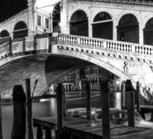 VENICE Rialto Bridge at Night black and white Sticker