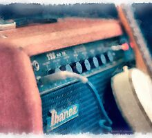 Vintage Guitar Amp Watercolor by Edward Fielding