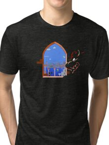 Our Hero Approaches (Black Background) Tri-blend T-Shirt