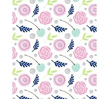 Floral blue pink green Photographic Print