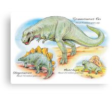 Tyrannosaurus, Stegosaurus & Moschops Canvas Print