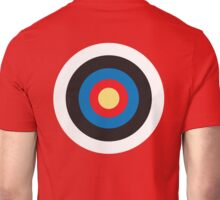 Bulls Eye, Right on Target, Roundel, Archery, on Red Unisex T-Shirt