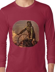Down to the Sea Slogan Long Sleeve T-Shirt