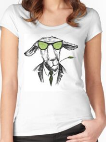 Hand Drawn Fashion Portrait of donkey Hipster  Women's Fitted Scoop T-Shirt