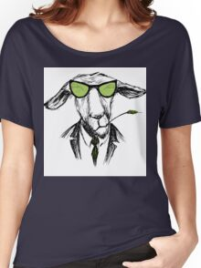 Hand Drawn Fashion Portrait of donkey Hipster  Women's Relaxed Fit T-Shirt