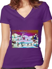 A winter scene Women's Fitted V-Neck T-Shirt