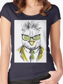 Hand Drawn Fashion Portrait of chicken Hipster Women's Fitted Scoop T-Shirt