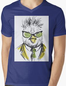 Hand Drawn Fashion Portrait of chicken Hipster Mens V-Neck T-Shirt