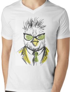 Hand Drawn Fashion Portrait of chicken Hipster Mens V-Neck T-Shirt