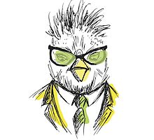 Hand Drawn Fashion Portrait of chicken Hipster by naum100