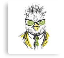 Hand Drawn Fashion Portrait of chicken Hipster Canvas Print