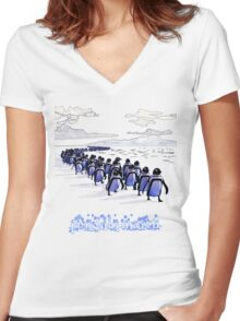 Penguin March Women's Fitted V-Neck T-Shirt