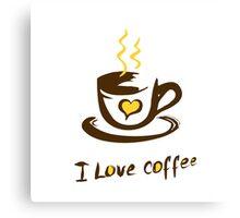 Hand drawn I love coffee illustration Canvas Print