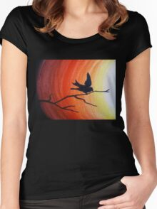 Bird silhouette at dawn Women's Fitted Scoop T-Shirt