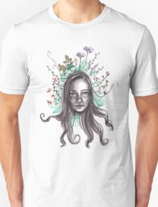 portrait of girl with flowers Unisex T-Shirt