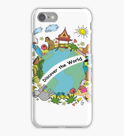 Discover the world . Set asian color icons and symbols iPhone Case/Skin