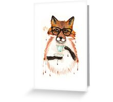 A Cuppa Tea With A Fox Greeting Card