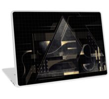 Composition of golden abstract geometry Laptop Skin