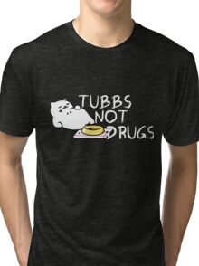 Tubbs Not Drugs - Neko Atsume (White) Tri-blend T-Shirt