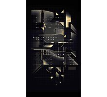 Composition of golden abstract geometry #2 Photographic Print