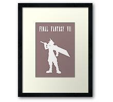 Cloud Strife Silhouette Minimal (White) - Final Fantasy VII Framed Print