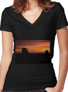 Mittens At Sunrise Women's Fitted V-Neck T-Shirt