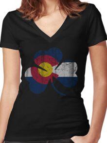 Vintage Irish Flag of Colorado Shamrock Women's Fitted V-Neck T-Shirt