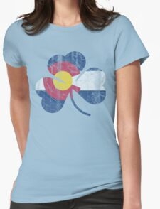 Vintage Irish Flag of Colorado Shamrock Womens Fitted T-Shirt