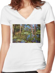 Lily Pads On Air Women's Fitted V-Neck T-Shirt