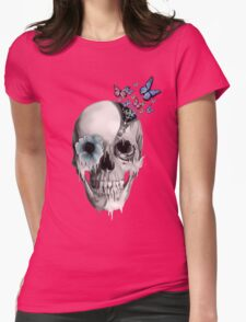 Open minded, unzipping sugar skull  Womens Fitted T-Shirt