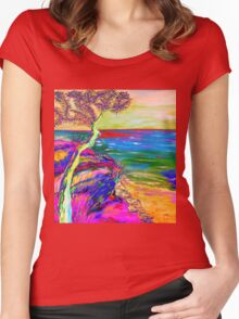 Looking out to sea. Women's Fitted Scoop T-Shirt