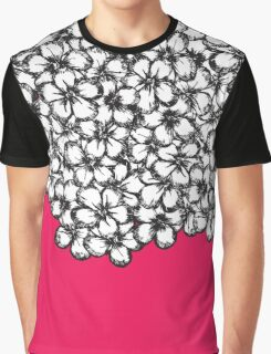 Hand Drawn Black and White Flowers on Hot Pink Graphic T-Shirt