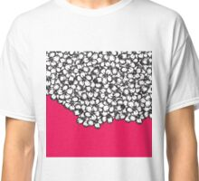 Hand Drawn Black and White Flowers on Hot Pink Classic T-Shirt