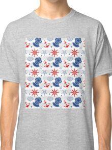 Nautical Wheel Anchor Pattern Red Blue Grey Classic T-Shirt