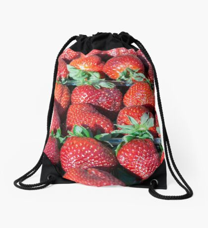 Fresh strawberry background Drawstring Bag