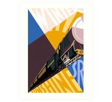 Train art deco style Southern Railway, travel South for Winter Sunshine Art Print