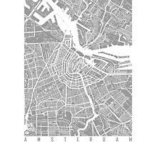 Amsterdam map grey Photographic Print