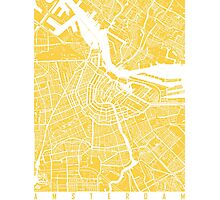Amsterdam map yellow Photographic Print