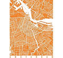 Amsterdam map orange Photographic Print