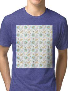 Retro Flowers Illustration Pattern Tri-blend T-Shirt