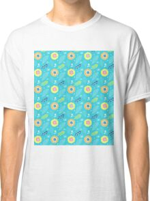 Colorful Summer Flowers Illustration Pattern Classic T-Shirt
