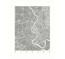 Bangkok map grey Art Print