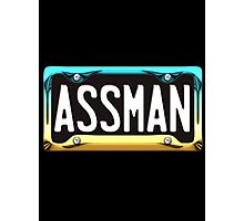 SHINY BLUE/GOLD LICENSE PLATE HOLDER WITH BLACK PLATE - assman Photographic Print